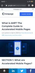 instapage amp version on viping tales as example to show how amp version looks on homepage